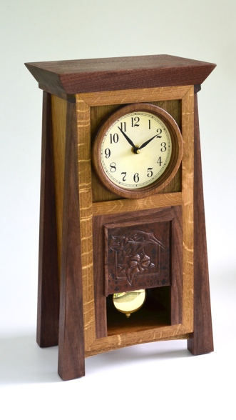 Oak and Walnut mission clock