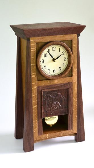 Oak and Walnut mission clock